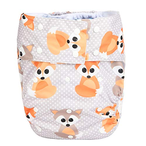 Sigzagor Teen Adult Cloth Diaper Nappy Reusable Washable for Disability Incontinence (Baby Fox)