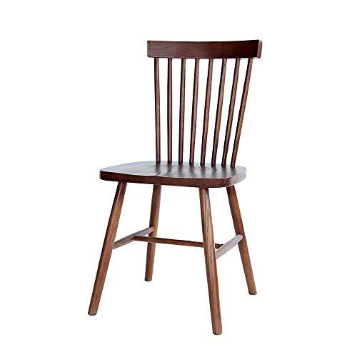 WEIZI Windsor Stuhl, Massivholz Esszimmerstuhl Nordic zurück nach Hause modernen minimalistischen lässigen Holzstuhl (Farbe: Schwarz)