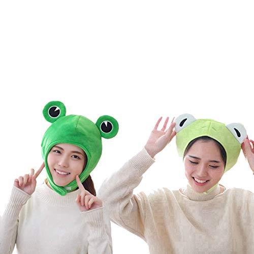 YALANK Cartoon Funny Adorable Plush Rabbit Frog Hat Cosplay,Plush Frog Rabbit Hat Halloween Party Cosplay Costume Accessories for Kids Adults (Closed Eye Frog)