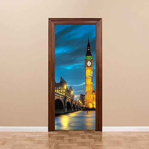 JIANXIQT deurstickers voor binnendeuren, citaat muursticker nachtzicht brug klok 3D badkamer deur sticker Pvc waterdicht natuurlijk landschap kunst stickers voor woonkamer slaapkamer decor muurschildering 90x200cm