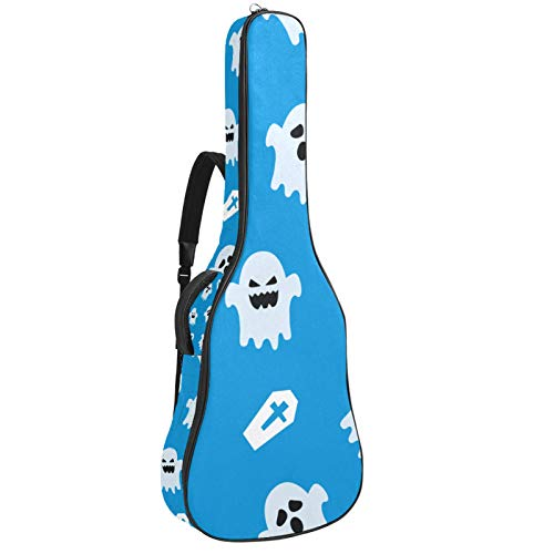 41 42Inch Acoustic Guitar Bag White ghost Guitar Case 0.4 Inch Thick Padding Waterproof Adjustable Dual Shoulder Strap Gig Bag 42.9x16.9x4.7 in
