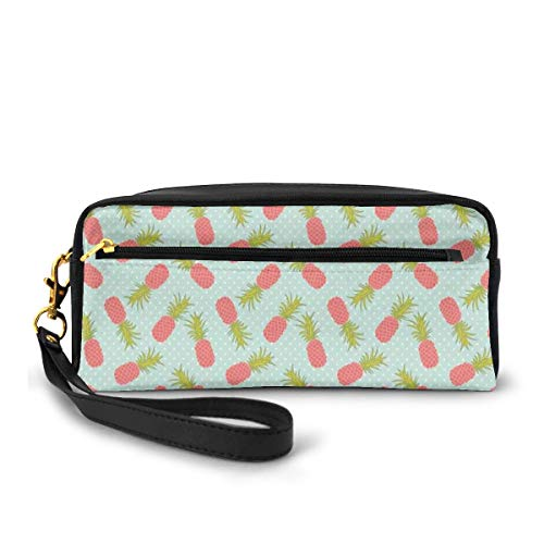 Pencil Case Pen Bag Pouch Stationary,Traditional Polka Dotted Background with Doodle Style Pineapple,Small Makeup Bag Coin Purse