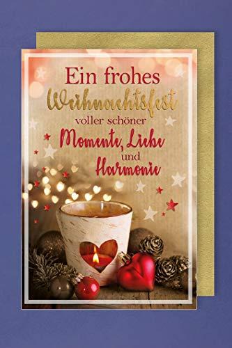 Weihnachten Karte Grußkarte Foliendruck Momente Liebe Teelicht 16x11cm
