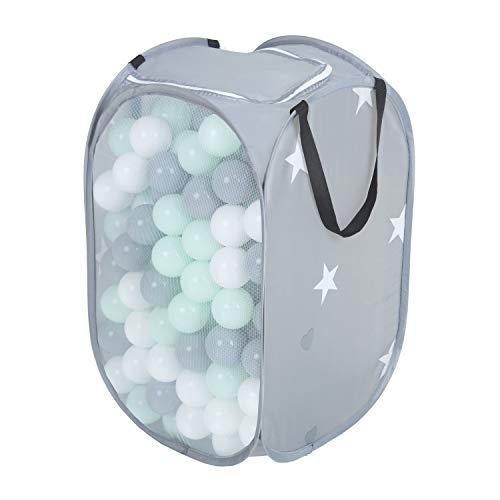 KiddyMoon Baby Netzkorb Mit 300 Bälle (6Cm) Plastikbälle Set, Grau:Weiß/Grau/Mint