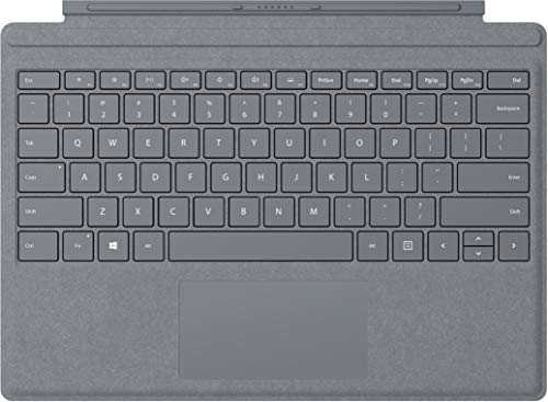 Microsoft Surface Pro Signature Type Cover (Kompatibel mit Surface Pro 6/Pro/Pro 4/Pro 3, LED-Hintergrundbeleuchtung, Qwertz Tastatur) platin grau