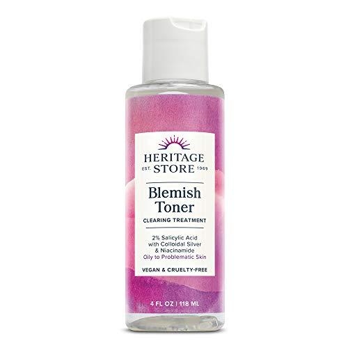 Heritage Store Blemish Toner Acne Treatment | 2% Salicylic Acid, Tea Tree Oil & Niacinamide | Oily Skin | Vegan | 4oz