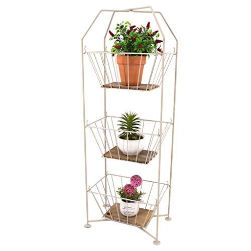 MMM@ Style européen intérieur fleur rack en fer forgé solide bois 3 couche panier de rangement carré simple rack balcon salon pot rack, amovible