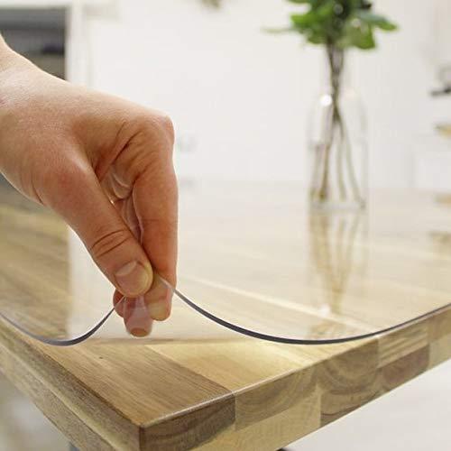 Plas-Tex Tischfolie 2mm Transparent Klar Tischdecke Tischschutz Schutzfolie Abwaschbar (90x180cm)