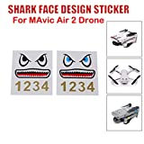 CreazyBee Shark Face Design Sticker Decal Skin DIY Accessory Compatible with DJI Mavic Air 2/Mavic Mini/Mavic Pro/Spark/Mavic 2 / Mavic 2 Pro/Mavic Air RC Drone (Multicolor)