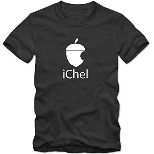 Shirtastic Herren Men T-Shirt iChel Parodie Eichel Fun Logo Computer Fun Tee S-3XL Neu, Größe:XL;T-Shirt:Grau;Aufdruck:Weiß