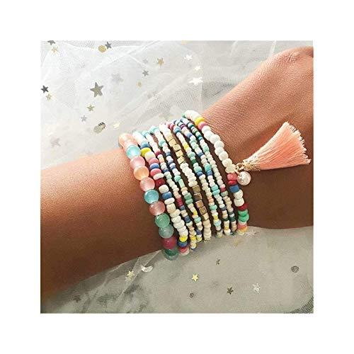 gujiu Charm bracelets Beaded Bracelet Friendship Bracelets Adjustable Braided Strand String Multilayer Bangles