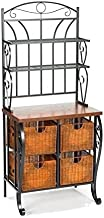 Southern Enterprises Holly & Martin Lillian Black Baker's Rack with 4 Brown Baskets