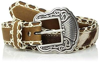 Nocona Belt Co. Women's Stitch Edge Faux Hair Center Belt, brown, Small