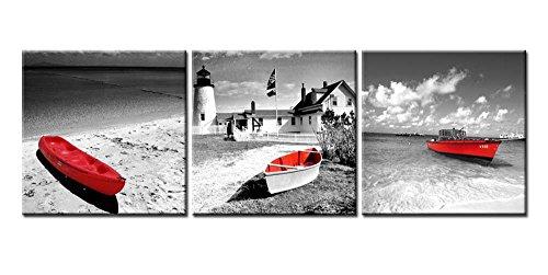 So Crazy Art -Bianco e Nero Moderni Quadri Faro della Barca sulla Spiaggia Stampa su Tela 3 Pannelli Paesaggi Decorazione da Parete per Soggiorno,Camera da Letto,Cucina