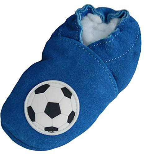 Lappade Fußball blau Jungen Fußballpuschen Lederpuschen Hausschuhe Krabbelschuhe Baby Lauflernschuhe mit Ledersohle (Art. 140 Gr. 21/22 EU)