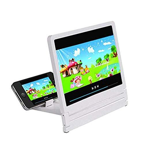 LQ&XL Pantalla Ampliadora, Pantalla De Lupa Plegable En 3D para Teléfono Móvil Película De Video Amplificador De Pantalla Protege Los Ojos con El Soporte (Blanco) A/A