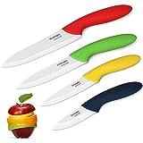 Knendet Juego de cuchillos de cerámica, 4 cuchillos profesionales de cocina ultra afilados, resistentes a las manchas, juego de cuchillos con asas multicolor con fundas de vaina