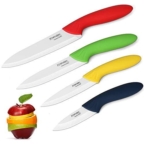 Set di Coltelli in Ceramica della , 4 Pezzi Super Taglienti Coltelli Professionali da Cucina, Set di Coltelli con Manici in Più Colori con Guaina Coprente Usati per Cucinare Verdure, Frutta e Pane