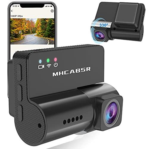 Mini Dash CAM WiFi, 1080P Cámara de Coche Grabadora DVR Lente giratoria de 330 ° Grabación en Bucle de Sensor G, Monitor de estacionamiento, Detección de Movimiento, Soporte 128G
