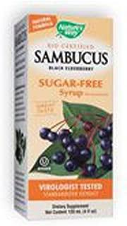 Natures Way Sambucus Black Elderberry Sugar Free Syrup, 4 Ounce - 3 per case.