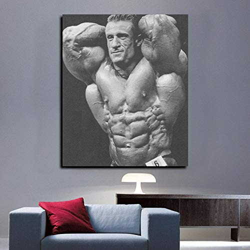 WSHIYI Blanco y Negro Inglés Top Bodybuilder Mr Olympia Bodybuilding Pintura de Lienzo Wall Art Poster Room Gym decoration-40x50cm sin Marco