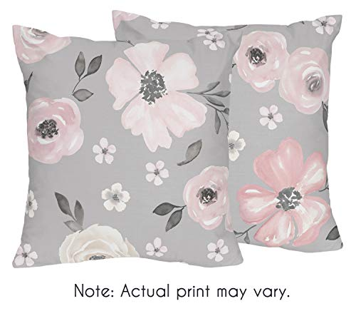 Sweet Jojo Designs Grey Watercolor Floral Decorative Accent Throw Pillows - Set of 2 - Blush Pink Gray and White Shabby Chic Rose Flower Farmhouse