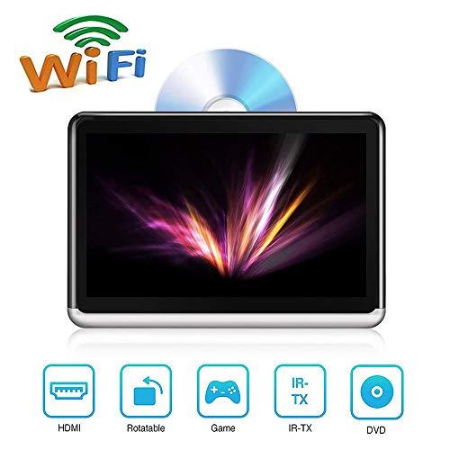 Roboraty HD-touchscreen-display voor auto-dvd-hoofdsteun monitor, 10,1-inch bluetooth-speler, mobiele telefoonaansluiting, ingebouwde accu, HDMI SD USB-afspelen zwart