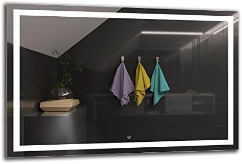 LED Spiegel Deluxe - Spiegelmaen 120x80 cm - Touch Schalter - Berührungsschalter - Badspiegel - Wandspiegel Lichtspiegel - Fertig zum Aufhngen - ARTTOR M1ZD-47-120x80 - Lichtfarbe Wei kalt 6500K