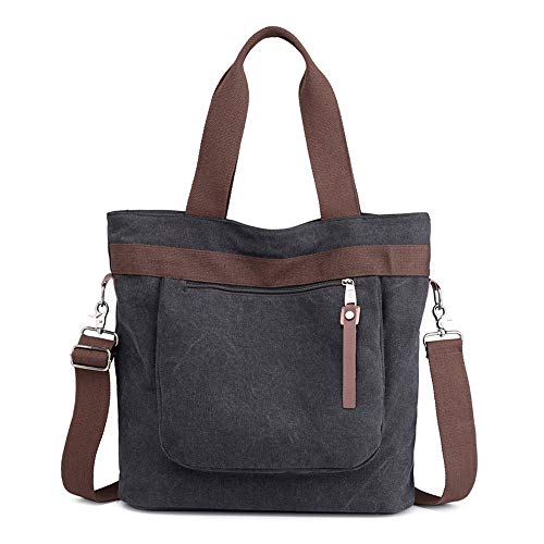 Canvas bag, shoulder bag, handbag, outdoor, large capacity, black, C0251