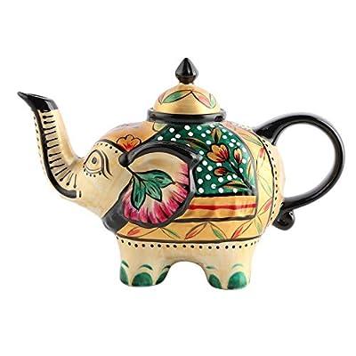 Doramie 800ml Ceramic Teapot with Handpainted Craft, Gold Rim Tea Kettle, Animal Series Elephant Teapot (Gold)