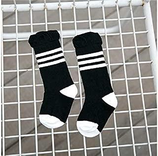 Lovely Socks Children Cotton Socks Kids Color Matching Stripe Pattern Lace Mid Tube Socks(Blue) Newborn Sock (Color : Black, Size : S)