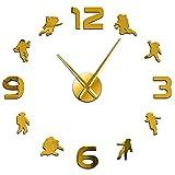 Reloj de pared Astronauta Diy Arte de la pared Superficie del espejo Reloj de pared grande y moderno Espacio exterior...