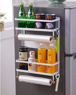 Magnetic Spice Rack, Fridge Magnet Organizer, Double Tier Magnetic Shelf Organizer Paper Towel Holder with 5 Hooks, Multi Use (Double-L-White)