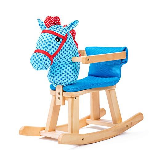 NACHEN Massivholz Baby Schaukelpferd Plüsch Holz Kind Kind Wippe Baby Wippstuhl Spielzeug mit Musik,Blue,S