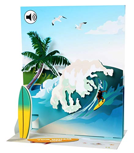 PopShots Studios Sound Pop Up 3D Karte Geburtstag Urlaub, Surfer, Sport, Beach 18x13cm