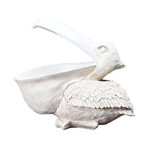 Resina Pelícano Estatua Llave Contenedor de dulces Almacenamiento Modelo Animal Estatuilla Mesa en miniatura Soporte de escritorio Adorno Decoración del hogar-Blanco, Francia