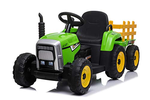 Ricco Toys JD Style Electric Ride on Tractor with Trailor