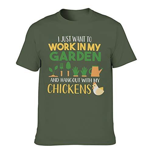 Camiseta de verano para hombre, divertida, con texto en alemán 'Hang Out' y texto en alemán verde militar XXXXL