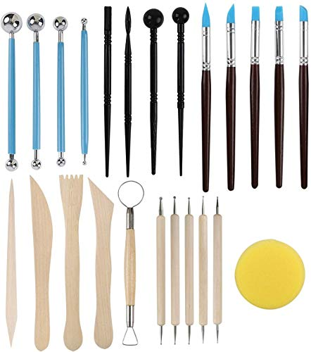 SERONLINE 24pcs Ball Stylus Dotting Tools, Polymer Modeling Clay Sculpting Tools Set Rock Painting Kit for Sculpture Pottery