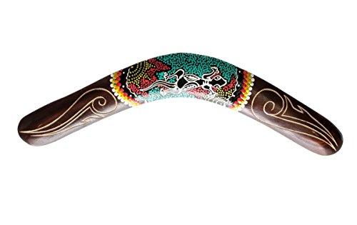 Ciffre 40cm Bumerang Bummerang Boomerang Deko Fair Trade Handbemalt Gecko Geschnitzt Holz