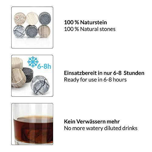 GOURMEO Whisky Steine (6 Stück) aus Marmor und Granit I wiederverwendbare Eiswürfel, Whiskysteine, Whisky Stones, Kühlsteine - 2