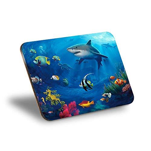 Destination Vinyl ltd Mantel individual de corcho 290 x 215 – subacuático, tiburón, pez océano, para bucear, lugar de trabajo/mesa/lavable, resistente al agua #8080