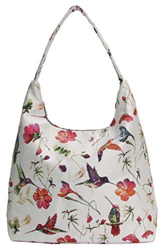 Signare Tapestry Arazzo Arazzo Borsa a Tracolla Donna, Borse Tote per Donne, Hobo bags con Disegni Floreali (Colibrì)