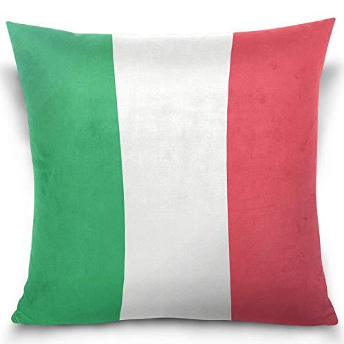 AEMAPE Bandiera Italiana Verde Bianco Striscia Rossa Fodera per Cuscino Federa Quadrata Fodera per Cuscino per Decorazioni per Auto per la casa 40X40 Cm