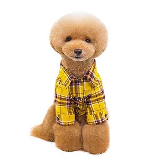 Hondenkleding, hondenkleding van pluche met twee benen, geruit overhemd, casual, Poodle Shih Tzu Chihuahua kleding voor huisdieren, kleding voor puppy's, S, Oro rosa + oro rosa