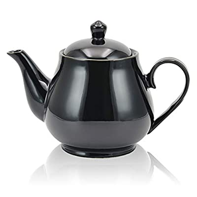 Porcelain Teapot,34 Ounce / 1000ml(4-5 Cups) Ceramic Tea Pot ,Blooming & Loose Leaf Teapot (BLACK)