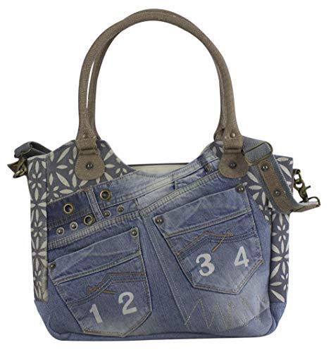 Sunsa Damen Tasche Umhängetasche Handtasche Canvas & Leder Bag mit Jeans Taschen Denim klein Schultertasche Damentaschen Vintage Crossbody Handtaschen Teenager Fashion Sale Lederhandtasche