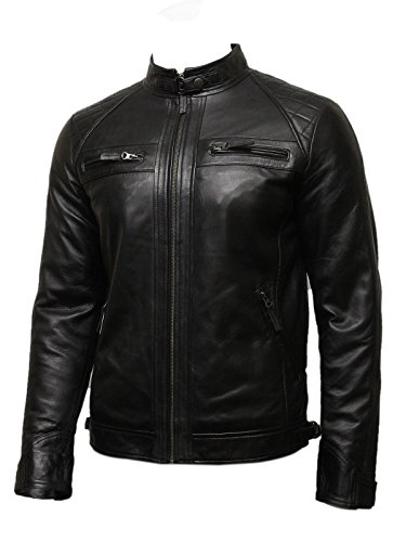 Infinity Mens Leather Biker Jacket Genuine Leather Bomber Jacket Coat Designer (Large) Black