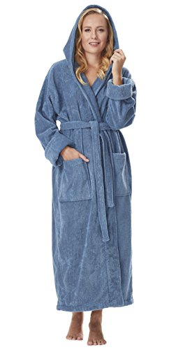 Arus Women's GOTS Certified Organic Cotton Hooded Full Length Turkish Bathrobe, Blue Grey, L