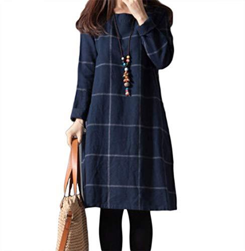 ZumZup Damen Lose Boho Kleider Rundhals Karo Mittellang Langarm Casual Leinen Baumwolle Tops Casual Kleid Dunkel Blau DE L(Asie XL)